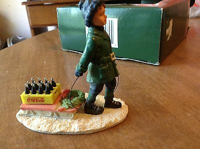 """Town Square Coca Cola """"bringing It Home"""", Boy With Sled And Case Of Coke W/box"""