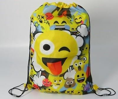 Smiley Emoji Boys Girls Kids Yellow Draw String PE Swim School Sport Gym Bag