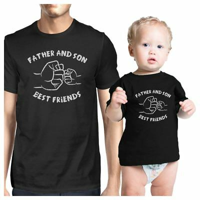 Father And Son Best Friends Fist Pound Dad and Baby Matching Black Shirt