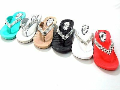 Women Ladies Ella Toe Post Diamante Sandals Low Wedge Flip Flops UK 3-8