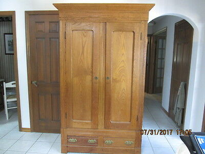 Antique Oak Knock Down Wardrobe with Drawers
