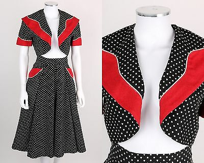 VTG 50s 2PC BLACK RED WHITE TULIP PRINT SHORT SLEEVE BOLERO JACKET SKIRT SZ XS S