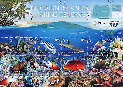 Pitcairn Isl 2017 MNH Marine Reserve 8v M/S Fish Fishes Sharks Corals Stamps