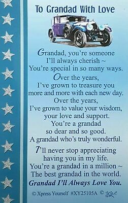 WALLET CARD TO GRANDAD WITH LOVE Keepsake Sentimental Verse Love Gift Birthday