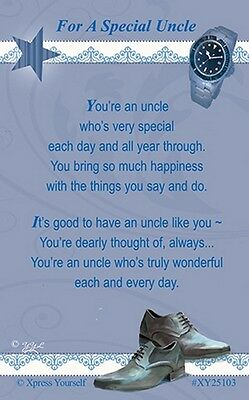 WALLET CARD FOR A SPECIAL UNCLE Keepsake Sentimental Verse Love Birthday Present