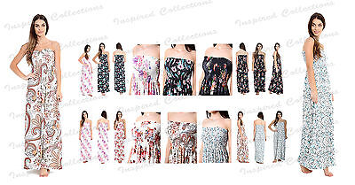 WOMEN/'S SHEERING PRINTED MAXI FLORAL GATHERED BOOB TUBE BANDEAU MAXI DRESS UK