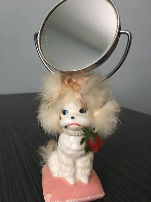 Vintage 1950's Poodle With Fur Vanity Mirror, ENESCO Japan, RARE
