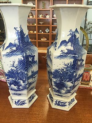 Pair Of Antique 19C Chinese Blue And White Vases
