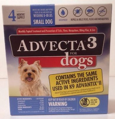 New Advecta 3 For Dogs 4 Doses Repels And Kills Ticks,Fleas And Mosquitoes