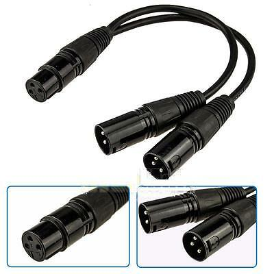 1ft 12-inch Premium XLR (3-Pin) Female Jack to 2-XLR Male Y-Splitter OFC Cable