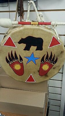 """PAINTED BEAR  15"""" NATIVE AMERICAN INDIAN 15 SIDED /POW WOW DRUM South Dakota"""