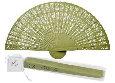 "8"" Chartreuse Chinese Folding Wood Panel Hand Fan w/ White Organza Bag for Weddi"