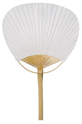 """9"""" White Paddle Paper Hand Fans for Weddings (10 Pack)"""
