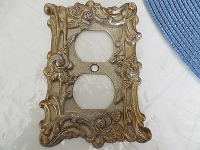 Antique vintage Electric switch light cover plate solid brass ornate