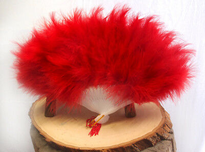 """11"""" Red Marabou Feather Chinese Folding Hand Fan for Weddings"""