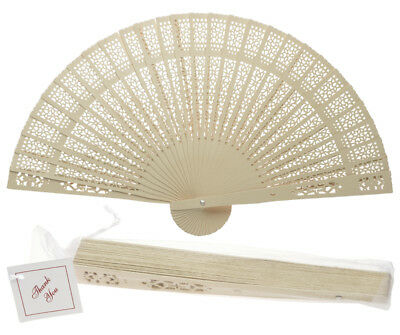 """8"""" Beige / Ivory Chinese Folding Wood Panel Hand Fan w/ White Organza Bag for We"""
