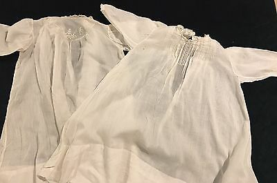 Pair Of Antique White Organdy Dresses Christening Gown #7