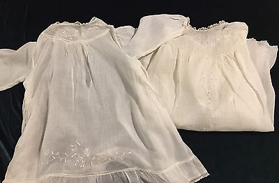 Pair Of  White Hand Embroidered Organdy Antique Baby Dress Christening Gown #3