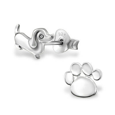 925 Sterling Silver Dachshund Sausage Dog Paw Print Kids Girls Women Earrings