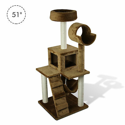 """51""""H Cat Tree Scratching Multi-level Tower Kitten Condo Play House Brown"""