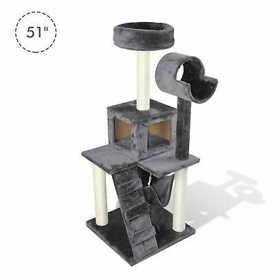 "51""H Cat Tree Scratching Multi-level Tower Kitten Condo Play House Grey"