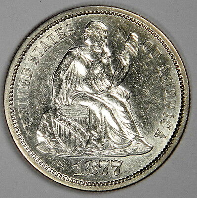 1877-S Seated Dime - Flashy Bold White Au/bu Uncirculated - Priced Right!