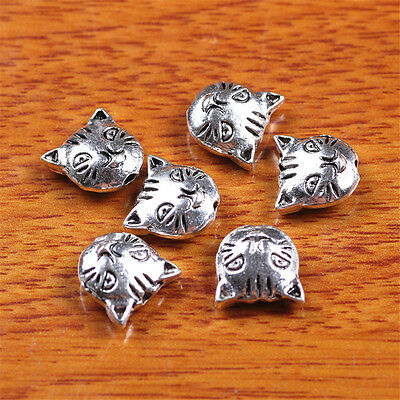 10 Pieces 11*11mm Spacer Cat Head Jewelry Making Beads Bracelet Sivler 17514E