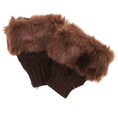 HD Lady Shaggy Faux Fur Knit Fluffy Hands Boot Covers Gloves - Brown
