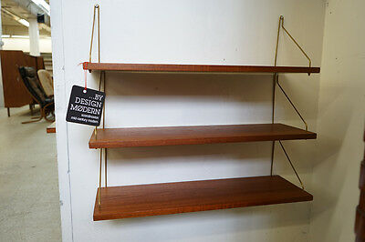 (308-030.2) Danish Mid-Century Modern Three Teak Hanging Wall Shelves Bookshelf