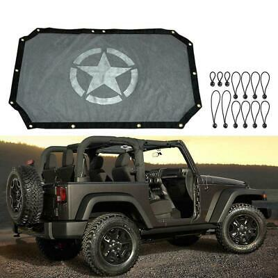 Eclipse Sun Shade UV Protection Mesh Top Cover For Jeep Wrangler 2007-2017