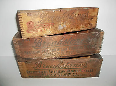 Vintage Lot of 3 Breakstone's American & Cream Cheese Wood Boxes 3lb. & 5lb. (2)