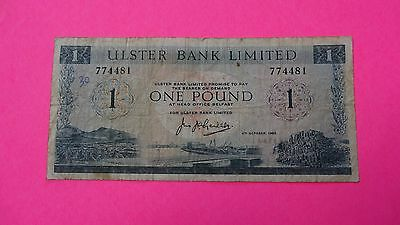 Ulster Bank Limited 1 Pound Note.