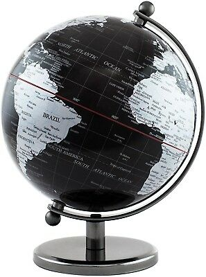 BRUBAKER Black Silver World Globe Chrome Design Stainless Steel 7.5 Inches Tall