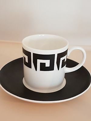1960s Vintage Susie Cooper Keystone Black China Set 6 Coffee Cans Cups Saucers