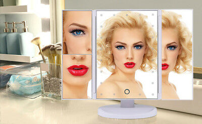 Trifold Lighted Makeup Vanity Stage Beauty 21 LED Mirror Illuminated Tabletop