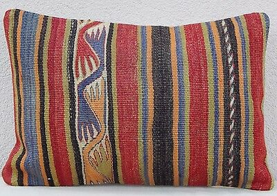 Oriental Kilim Pillow Bohemian Cushion Cover Old Pillows Sofa Art 14 x 20""