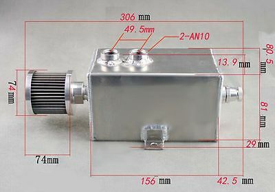 1L Baffled Polished Aluminum Oil Catch Tank W/ Breather & Drain Tap 1LT Can