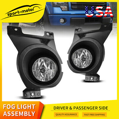 for 2011-2014 Ford F-150 Clear Bumper Fog Light Lamps Pair w/ Wiring Kit & Bulbs