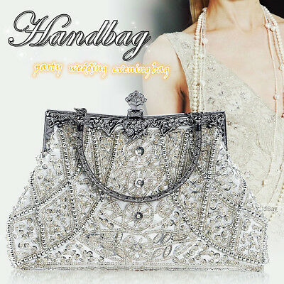 Antique Seed Beaded Ladies Bag Wedding Bag Party Prom Clutch Handbag Silver