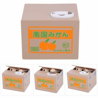 Automatic Stealing Coin Cat Kitty Piggy Bank Saving Box Sweet Great Gift White