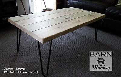 Solid Wood Coffee Table with Hairpin Legs Rustic Vintage Custom Colour & Finish