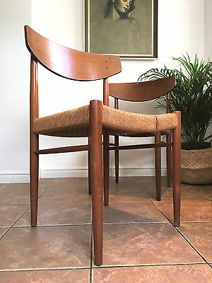 2 x mid century teak and papercord Danish AM Mobler dining chairs 1960s