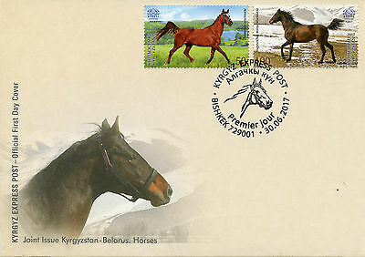 Kyrgyzstan KEP 2017 FDC Horses Joint Issue JIS Belarus 2v Cover Animals Stamps