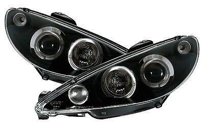 Phares Feux Avant Av Angel Eyes Noir Led H4 Peugeot 206 Trendy Urban X Line