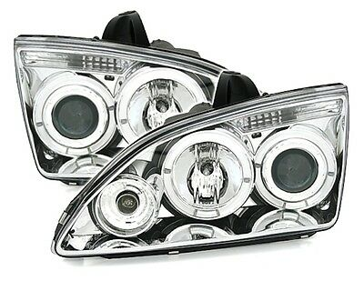 Feux Phares Avant Angel Eyes Led Chrome Cristal Ford Focus 2 2004-2008 Tous