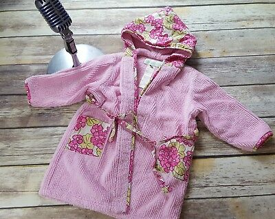 Baby Lulu Los Angeles 2/3T Pink Floral Textured Terry Cloth Hooded Robe
