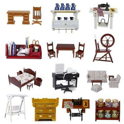 1/12 Miniature Furniture Wooden Bed Table Chair Cabinet Drawer for Dolls House