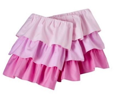 "Circo Pink Multi Ruffled 3 Tiered Crib Bedskirt Dust Ruffle 14"" Drop NEW!"