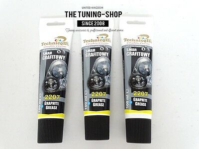3 x 100ml Graphite Grease Lubricant For Splined & Screwed Joints Gears Gates New