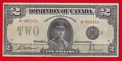 1923 $2 Dominion Of Canada Group 2,  Black Seal.